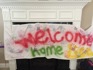 Welcome Home banner from my tennis friends